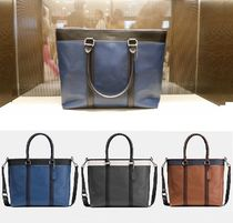 Coach Unisex Calfskin A4 2WAY Bi-color Business & Briefcases