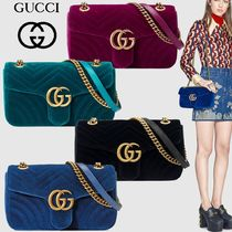 GUCCI GG Marmont 2WAY Chain Plain Elegant Style Shoulder Bags