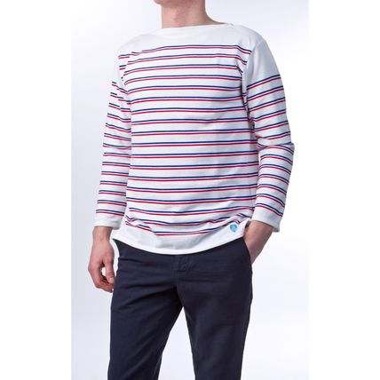Pullovers Stripes Unisex Boat Neck Long Sleeves Cotton