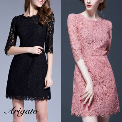 Crew Neck Short Cropped Lace Party Dresses