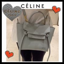 CELINE Belt Unisex Calfskin 2WAY Plain Elegant Style Shoulder Bags