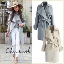 Chicwish Plain Medium Trench Coats