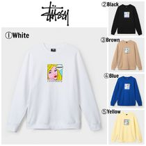 STUSSY Crew Neck Street Style Long Sleeves Sweatshirts