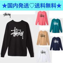 STUSSY Crew Neck Pullovers Long Sleeves Plain Cotton