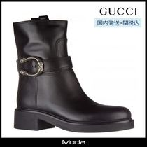 GUCCI Plain Toe Casual Style Plain Leather Block Heels