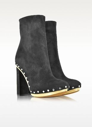 Round Toe Suede Studded Block Heels Ankle & Booties Boots