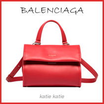 BALENCIAGA Rouge (Red) Calfskin Tools Satchel Crossbody Bag