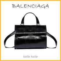 BALENCIAGA Black Python Tools Satchel Crossbody Bag