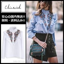 Chicwish Flower Patterns Long Sleeves Medium Shirts & Blouses