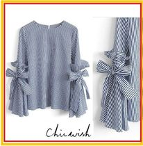 Chicwish Stripes Puff Sleeves Shirts & Blouses