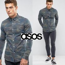 ASOS Button-down Camouflage Henry Neck Street Style Long Sleeves