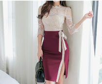 Pencil Skirts Plain Medium Elegant Style Bold Midi Skirts