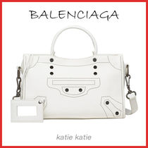 BALENCIAGA CITY Blanc (White) Blackout Calfskin S Handbag