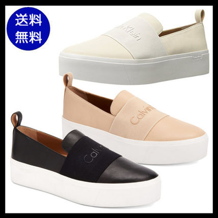 Platform Round Toe Casual Style Plain Leather Slip-On Shoes