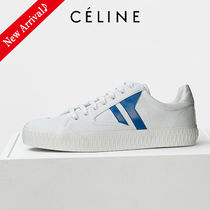 CELINE Stripes Round Toe Rubber Sole Lace-up Casual Style Unisex