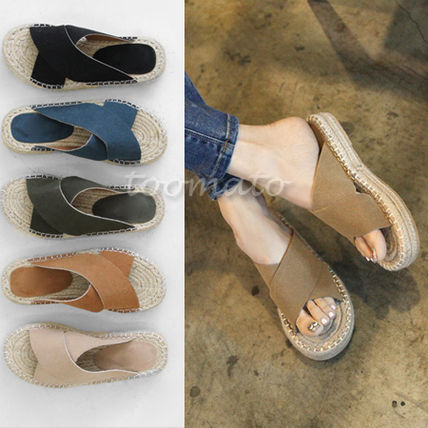 Cross-wide strap Espadrilles slipper C1