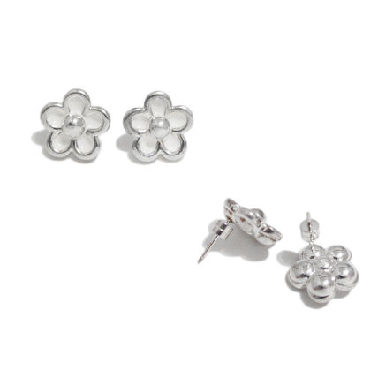 Flower Silver Office Style Earrings & Piercings