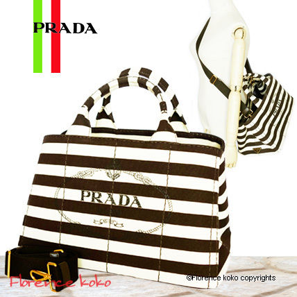 PRADA Totes Tabacco Brown & White Striped Canapa Tote Bag