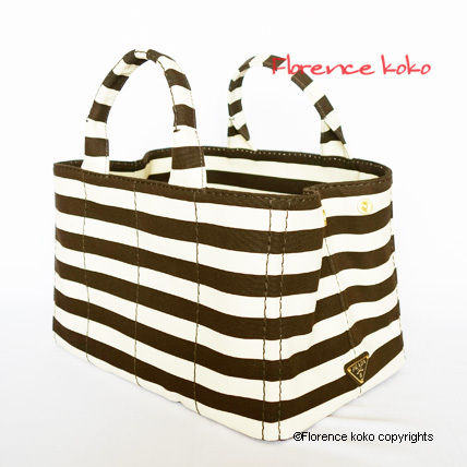 PRADA Totes Tabacco Brown & White Striped Canapa Tote Bag 2