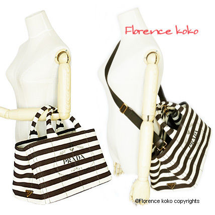 PRADA Totes Tabacco Brown & White Striped Canapa Tote Bag 5