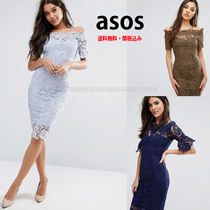 ASOS Tight Boat Neck Plain Medium Lace Khaki Party Dresses