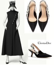 Christian Dior JADIOR Bi-color Plain Elegant Style Pointed Toe Pumps & Mules