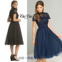 Chi Chi London Flared Medium Short Sleeves High-Neck Party Dresses