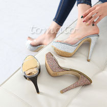 Open Toe Pin Heels Stiletto Pumps & Mules