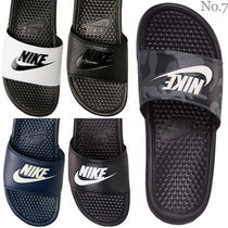 Nike BENASSI Camouflage Faux Fur Street Style Plain Shower Shoes