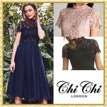 Chi Chi London Flared Plain Medium Short Sleeves High-Neck Party Dresses
