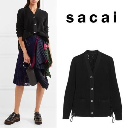 2017 SS that SACAI back lace cardigan black