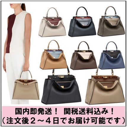 FENDI PEEKABOO Calfskin 2WAY Bi-color Plain Elegant Style Handbags