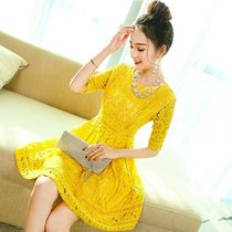 Short A-line Short Sleeves Lace Party Dresses
