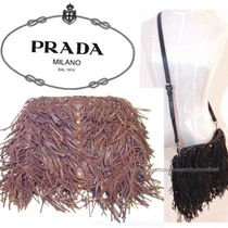 PRADA 2WAY Leather Fringes With Jewels Shoulder Bags