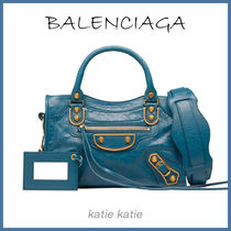 BALENCIAGA CITY Blue Abysse Classic Metallic Edge Mini Crossbody Bag