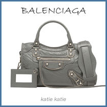 BALENCIAGA CITY Grey Goatskin Classic Metallic Edge Mini Crossbody Bag