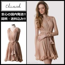 Chicwish Short Sleeveless V-Neck Plain Party Dresses