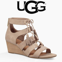 UGG Australia Open Toe Lace-up Tassel Leather Python Elegant Style