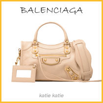 BALENCIAGA CITY Beige Goatskin Classic Metallic Edge Mini Crossbody Bag