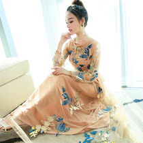 Blended Fabrics Long Sleeves Long Party Dresses