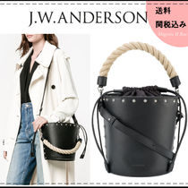 J W ANDERSON Casual Style Studded 2WAY Plain Leather Shoulder Bags