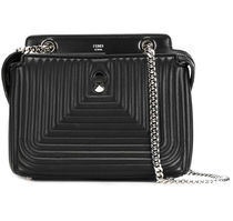 FENDI Quilted Leather DotCom Click Chain Shoulder Bag / Black