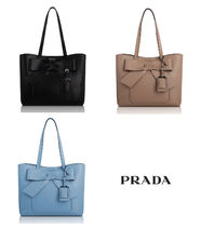 PRADA City Calf Leather Bow Shopping Tote Bag (Black/Beige/Blue)