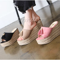 Open Toe Suede Platform & Wedge Sandals