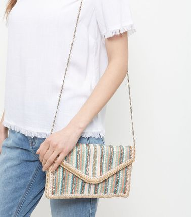 Stripes 2WAY Party Style With Jewels Shoulder Bags