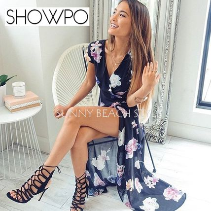 Flower Patterns Casual Style Maxi V-Neck Long Dresses