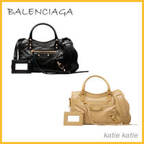 BALENCIAGA CITY Lambskin Classic Gold Mini Crossbody Bag (Black/Beige)