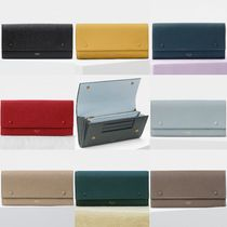 CELINE Flap Unisex Bi-color Plain Leather Long Wallets