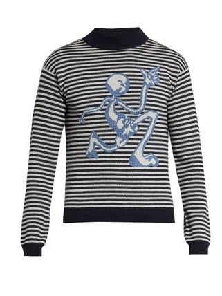 J W ANDERSON Crew Neck Pullovers Stripes Wool Long Sleeves