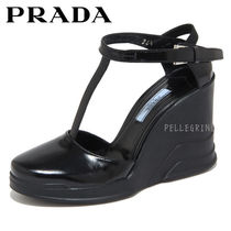 PRADA Plain Toe Plain Leather Wedge Pumps & Mules